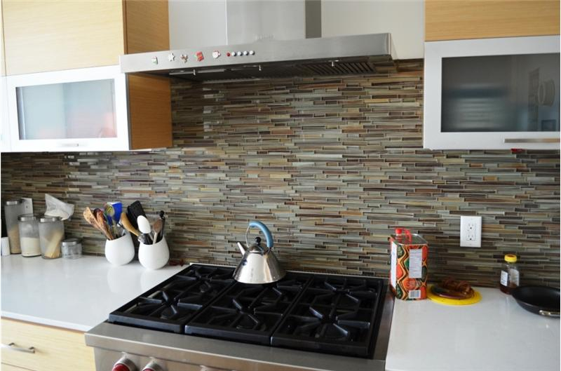 Beautiful glass tile backsplash